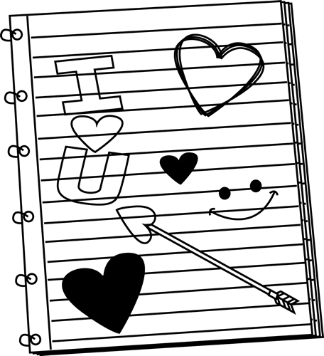 456x500 Notebook And Pencil Clipart Black And White