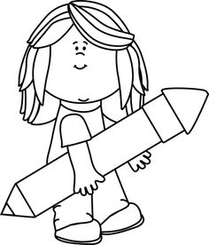 236x276 Black And White Girl With A Pencil Waving Clip Art
