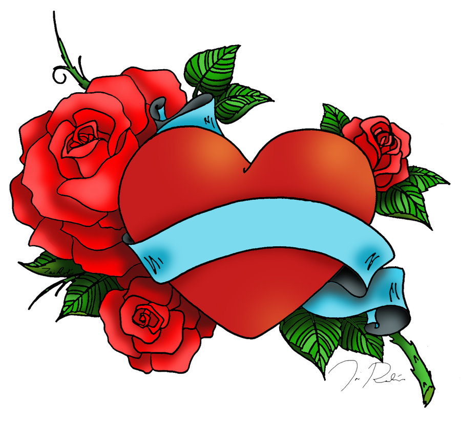 900x828 Heart And Roses Tattoo Drawings Heart And Rose Tattoo By