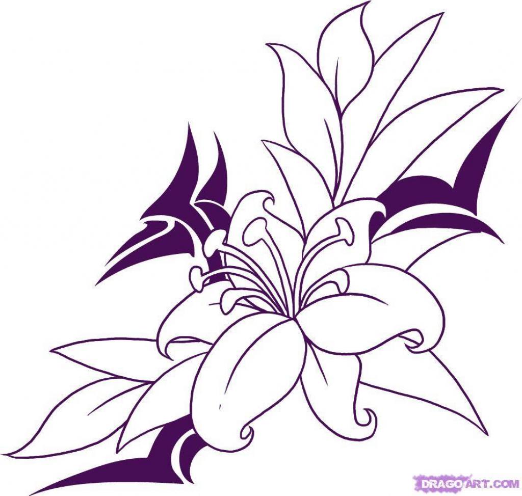1024x973 Pencil Drawings Of Flowers Vines Hearts Rose Black