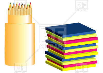 400x283 Colored Paper And Pencils Royalty Free Vector Clip Art Image