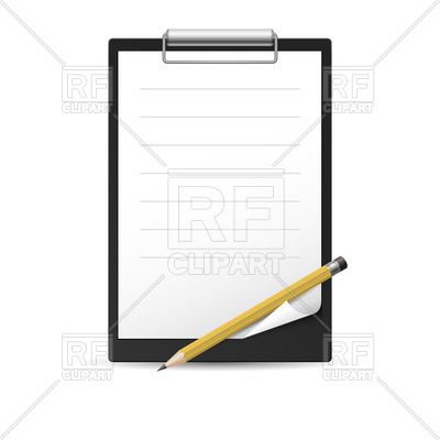 400x400 Pencil, Clipboard And Paper Sheet With Curled Corner Royalty Free