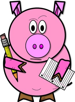 259x350 Clip Art Preston The Pig Holding Pencil And Paper (Color And Bampw)