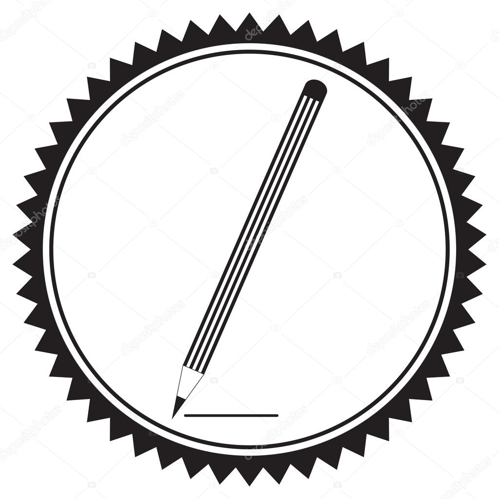 1024x1024 Silhouette Of A Pencil In A Circular Frame Stock Vector