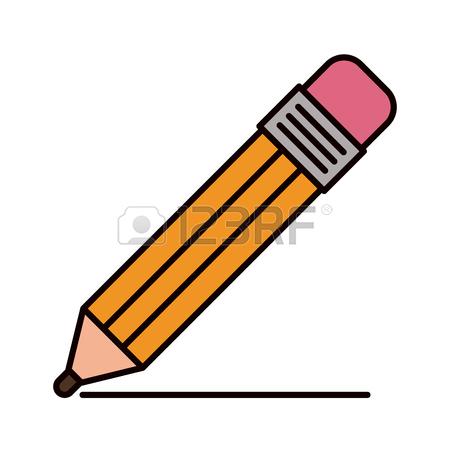 450x450 Color Crayon Stripe Image Of Pencil With Eraser Vector