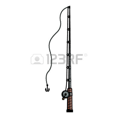 450x450 Colored Pencil Silhouette Of Fishing Rod With Nylon Reel