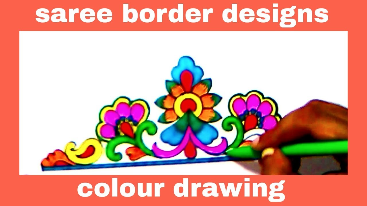 1280x720 Simple Embroidery Art Drawing Saree Border Designs Pencil Art