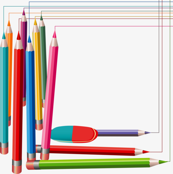 600x605 Creative Pencil Frame, Pencil Frame, Pencils Border, Brush Frame