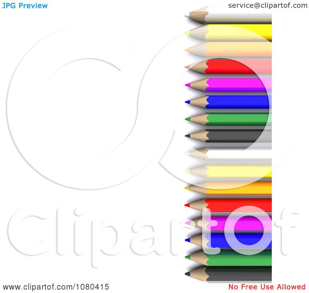 1080x1024 Clipart 3d Right Border Of Colored Pencils