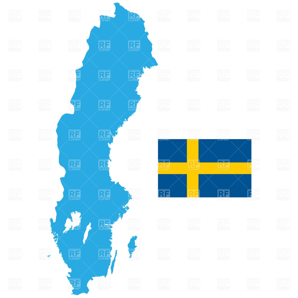 1200x1200 Map Of Sweden Outline Royalty Free Vector Clip Art Image