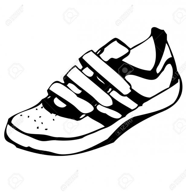 616x644 Boot. Cartoon Sneakers Isolated Cartoon Sneakers Lineart Royalty