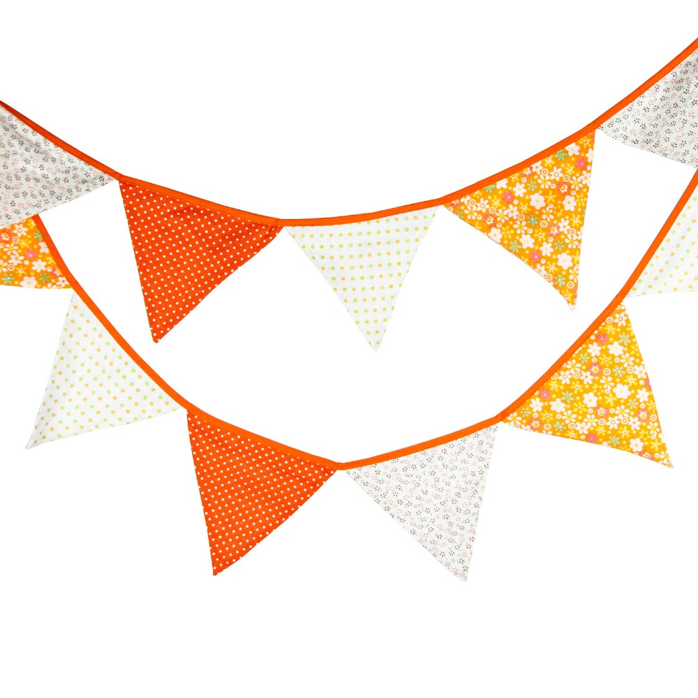 1000x1000 3.2m 12 Flags Orange Banner Pennant Cotton Bunting Banner Booth