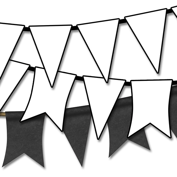 600x600 Pennant Banner Clipart Black And White Scrapheap