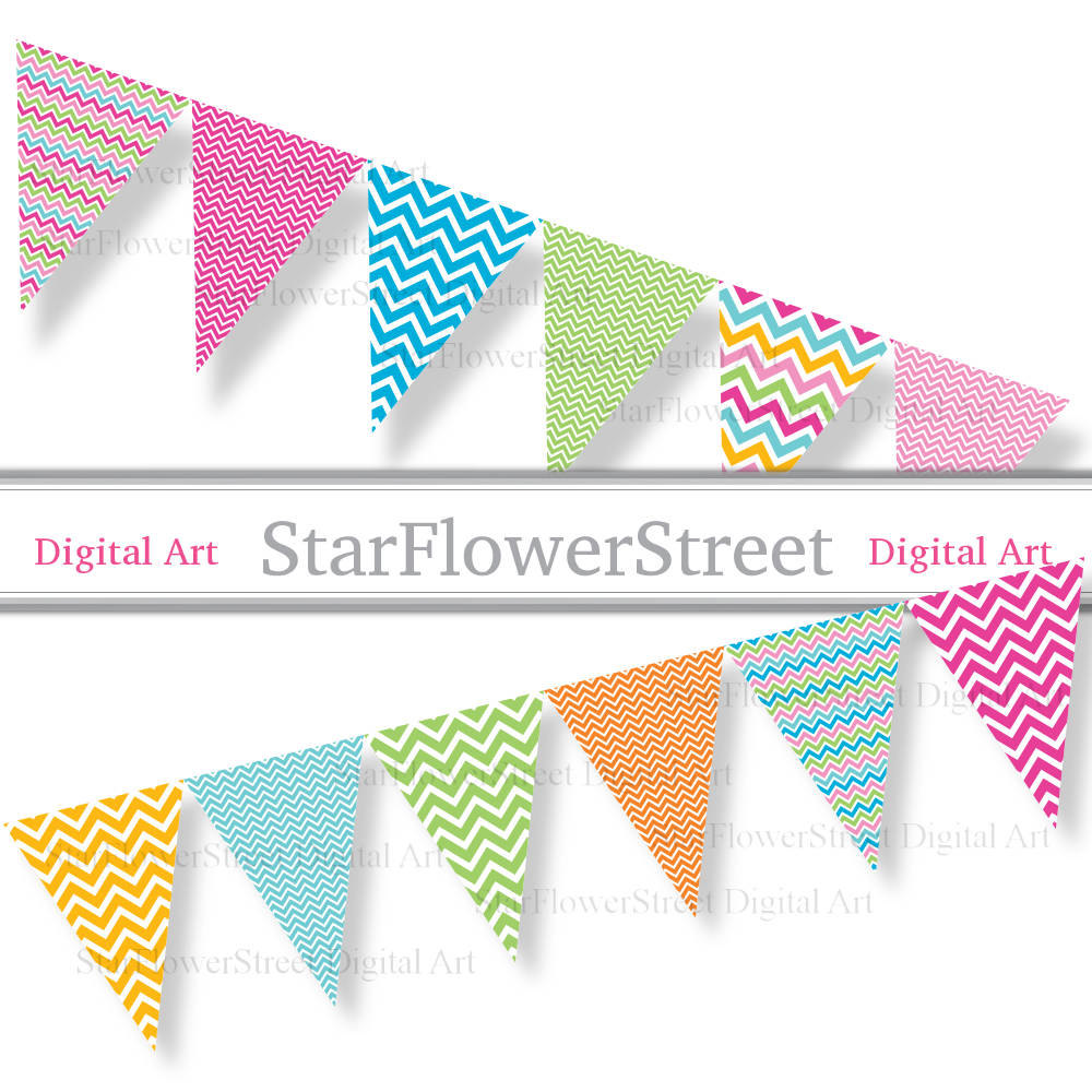1000x1000 Chevron Bunting Banner Party Bright Colors Pink Blue Turquoise