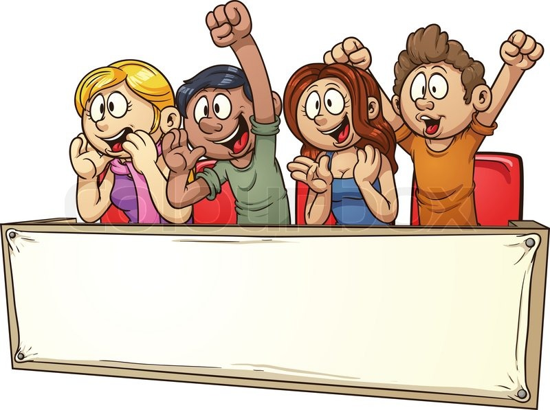 800x597 Cheering Crowd Banner. Vector Clip Art Illustration