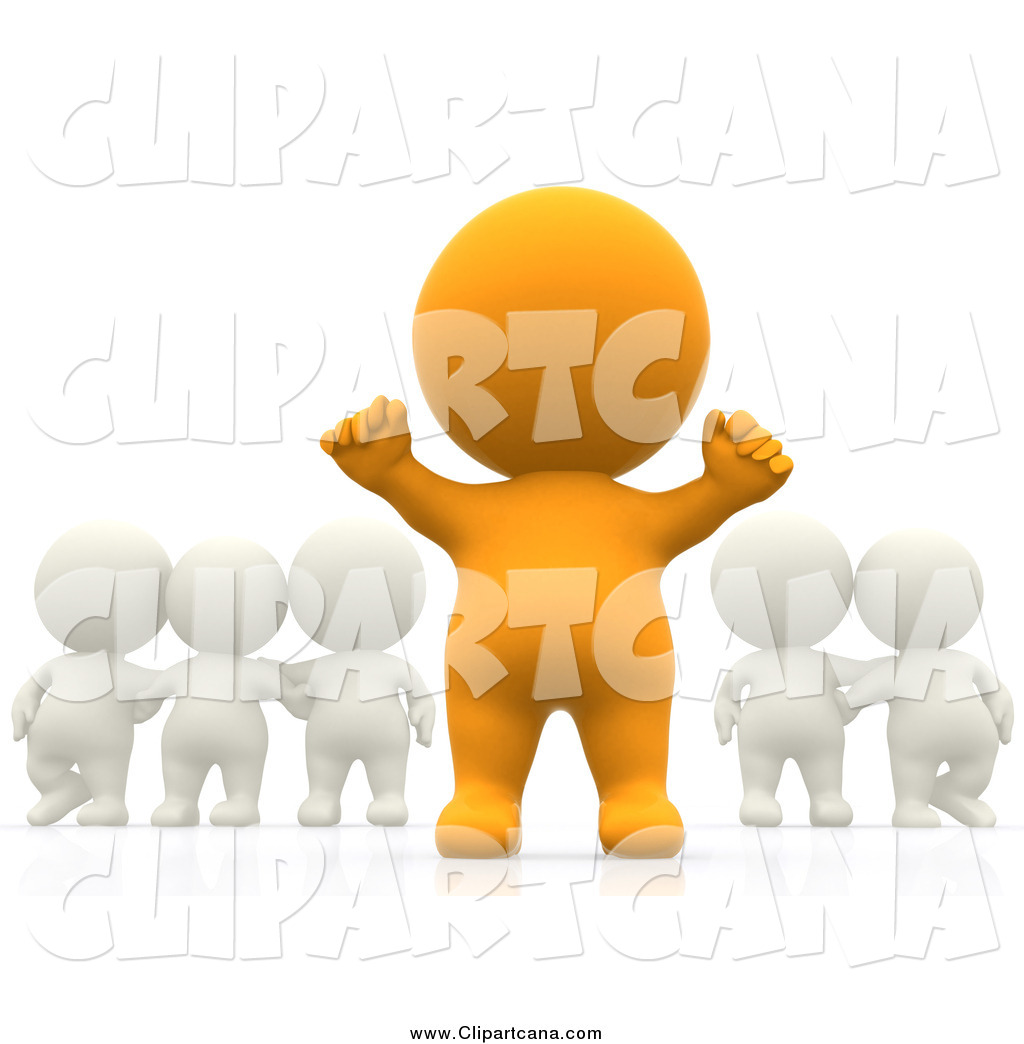 1024x1044 Clip Art Of A 3d Cheering Orange Person Standing Out From A Group
