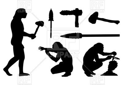 400x277 Silhouettes Of Ancient People And Tools Royalty Free Vector Clip