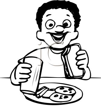 334x350 Black And White Cartoon Of An Ethnic Boy Eating Lunch