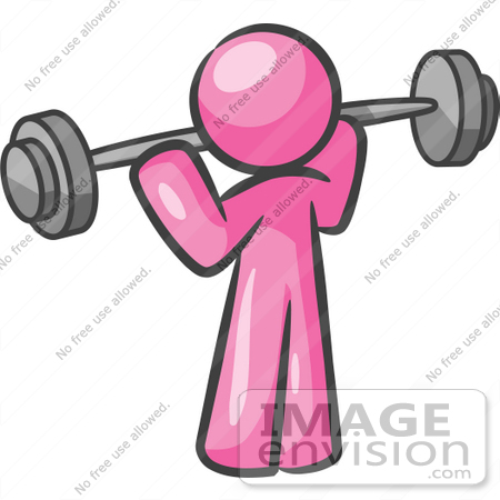 450x450 Clip Art Graphic Of A Pink Guy Character Exercising With A Barbell
