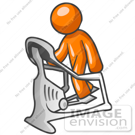450x450 Clip Art Graphic Of An Orange Guy Character Working Out On A Stair