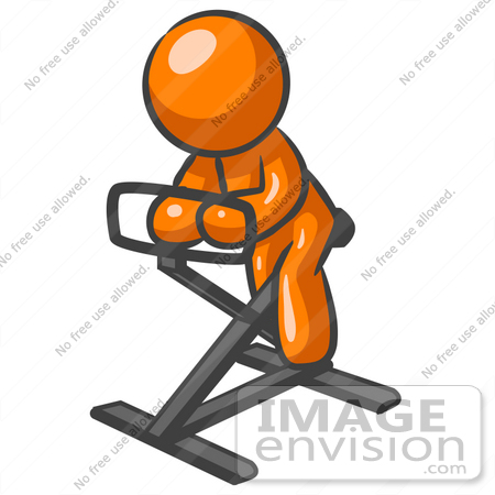 450x450 Clip Art Graphic Of An Orange Man Character Getting Fit While