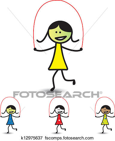384x470 Clip Art Of Illustration Of Young Girls Playing Skipping Game