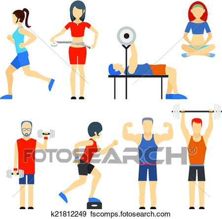 450x443 Clip Art Of Set Of People Exercising