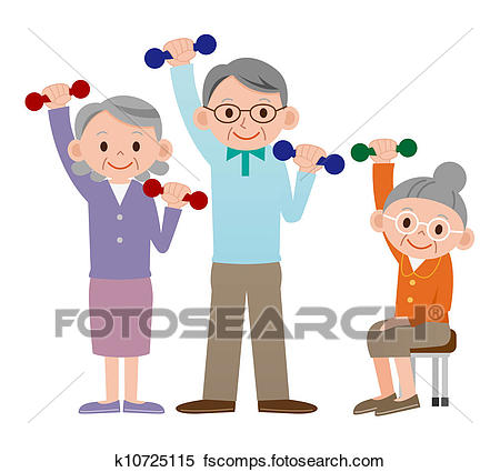 450x425 Clipart Of Group Of Older Mature People Liftin K10725111