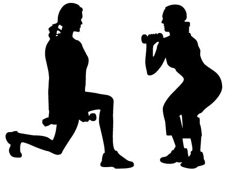 500x350 Women Exercise Vector Free Download Silhouette Clip Art