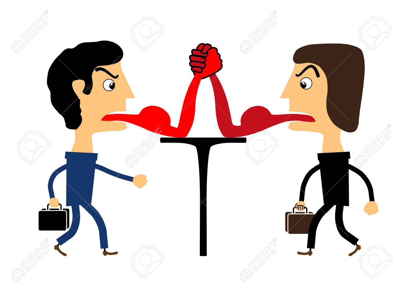 1300x909 Two People Fighting With Their Tongues. Vector Royalty Free