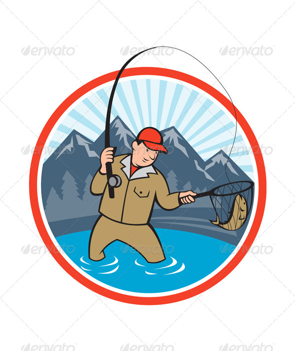 590x700 Fly Fisherman Catching Trout Fish Cartoon By Patrimonio Graphicriver