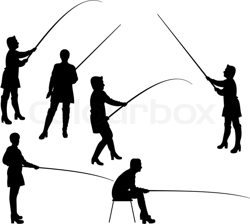 800x718 Vector Set Of Silhouettes Of Activity Woman In Fishing. Stock