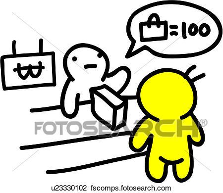 450x390 Clipart Of Cashier, People, Product, Checkout Counter, Money