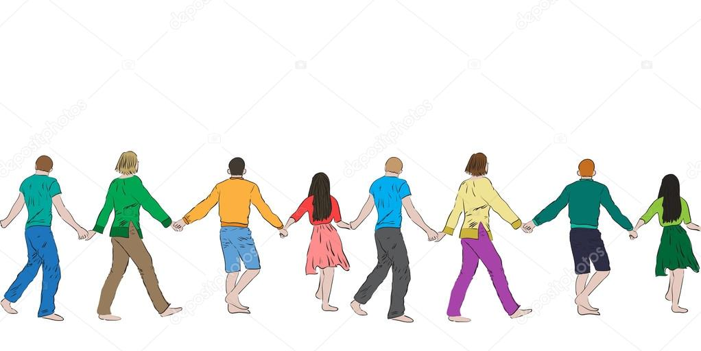 1022x512 People Holding Hands Stock Vectors, Royalty Free People Holding