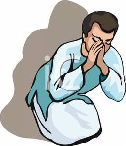 260x300 Man In Robes Praying Clip Art Image