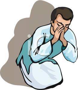 260x300 Man In Robes Praying Clip Art Image