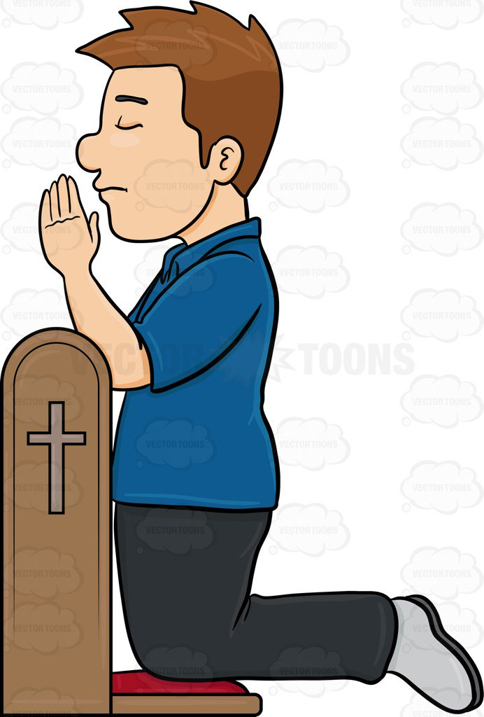692x1024 A Man Closes His Eyes In Concentration To Pray To God Cartoon