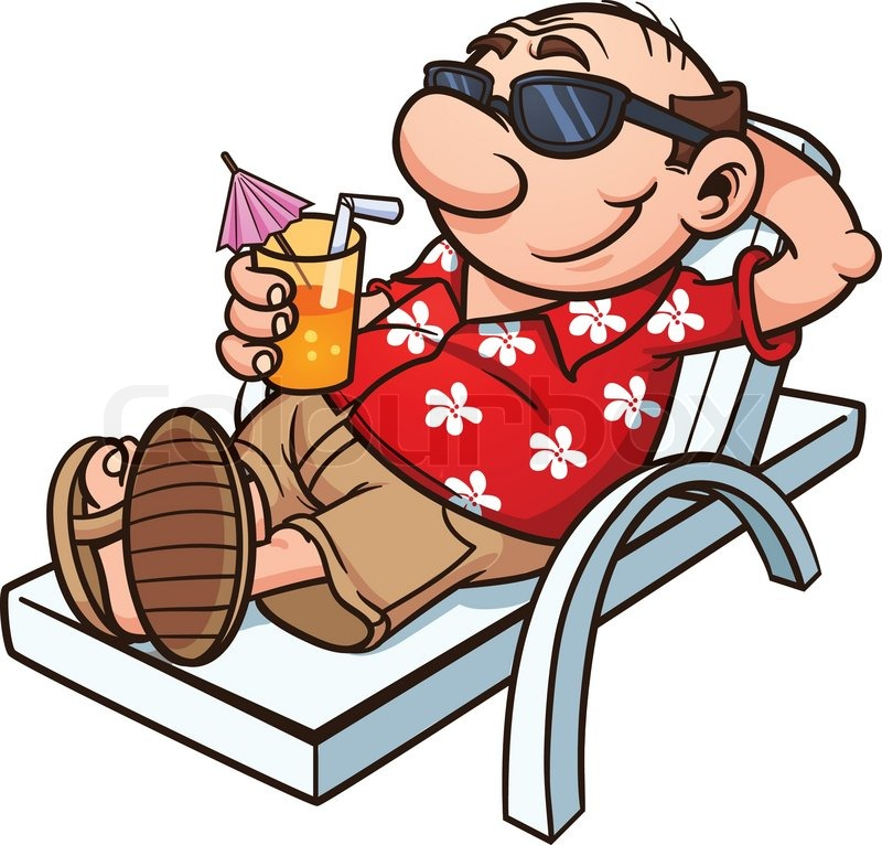 800x766 Cartoon Tourist Relaxing. Vector Illustration With Simple