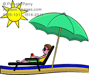 300x252 Clip Art Image Of A Sunburned Young Man Relaxing On The Beach