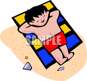 300x281 Free Clipart Image A Cartoon Boy Relaxing On A Beach Towel