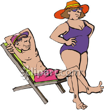 331x350 Skinny Man And Fat Woman Relaxing On The Beach While On Vacation