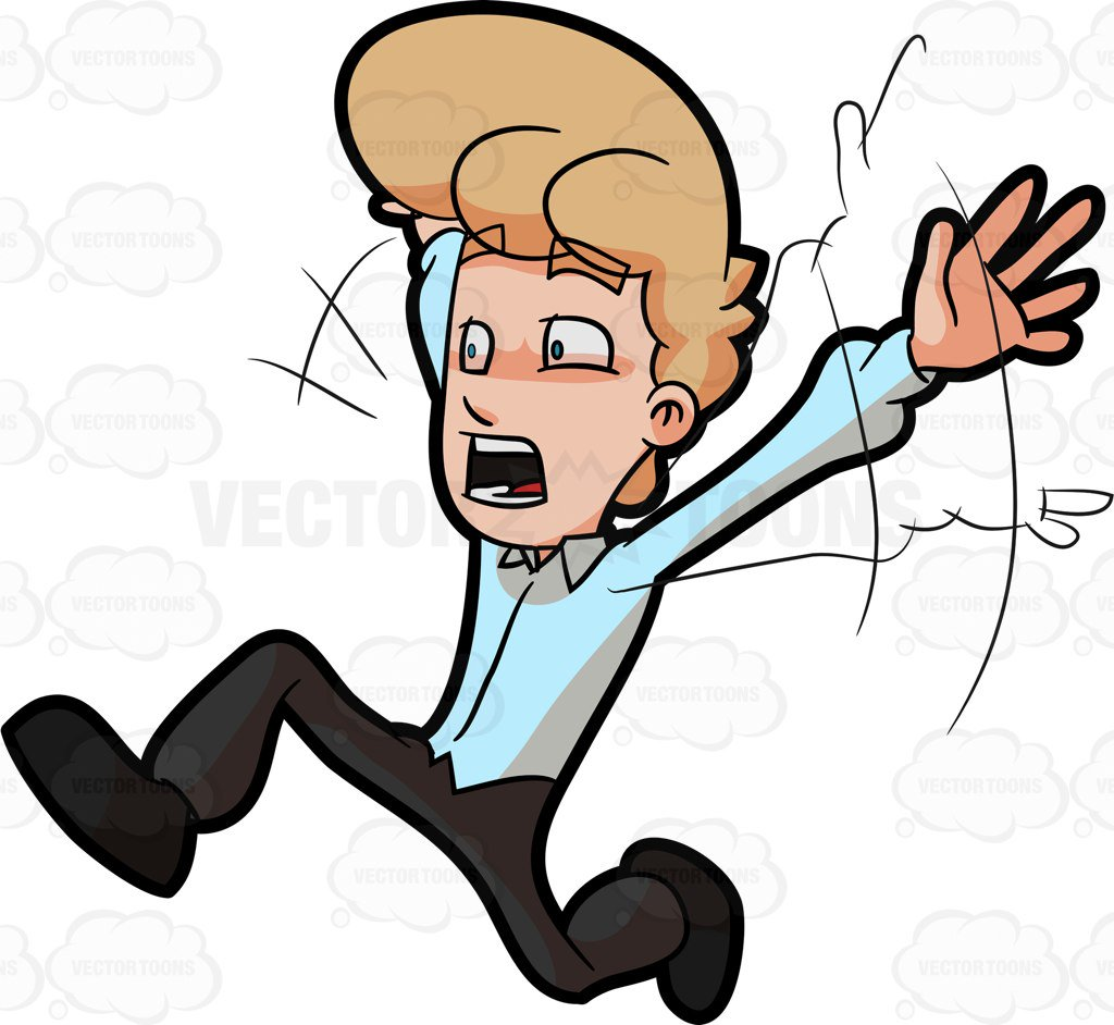 1024x942 A Man Running Away From Something That Scared Him Cartoon Clipart