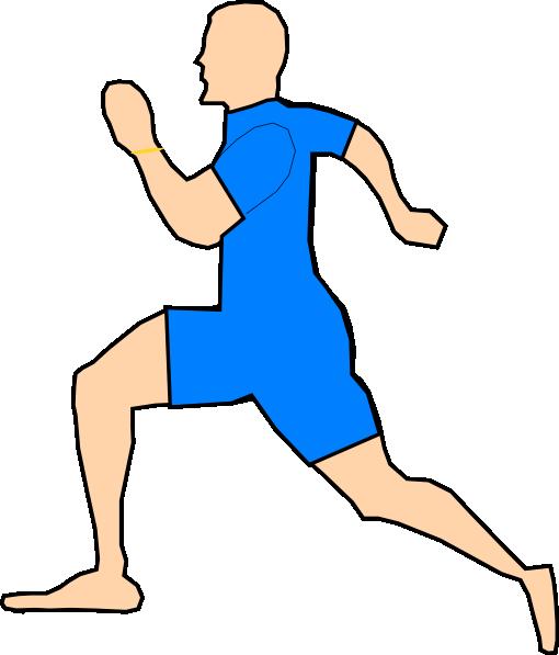 510x597 Man Running In Light Blue Clip Art