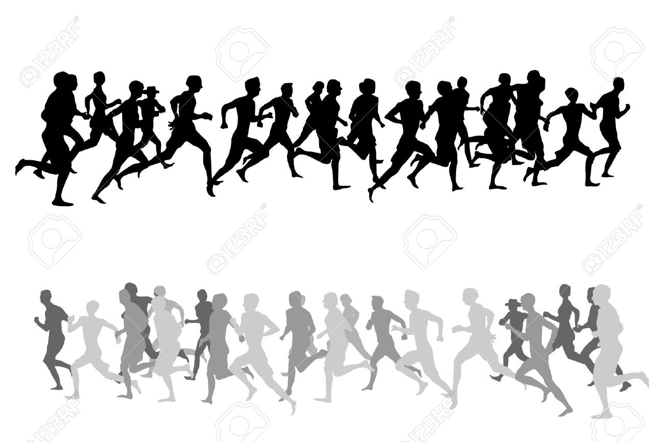 1300x866 People Running Clipart