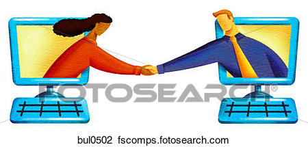 450x215 Clip Art Of Illustration Of Two People Shaking Hands From Computer