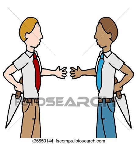 450x470 Clipart Of Businessman And Shake Back Stabbing K36550144