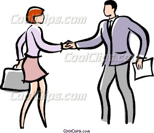 300x260 Man And Woman Shaking Hands Vector Clip Art