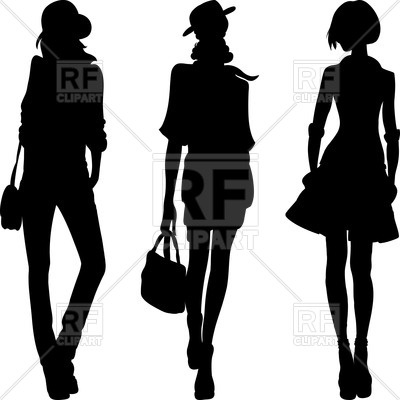 400x400 Set Of Silhouettes Of Women Models Royalty Free Vector Clip Art