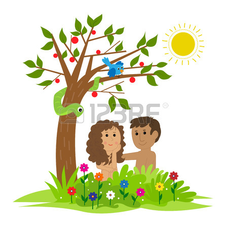450x447 Cute Clip Art Of Adam And Eve Sitting Under A Tree In The Garden