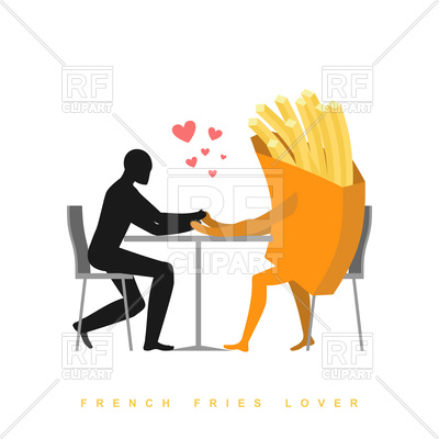 400x400 French Fries Lover In Cafe, Man And Fast Food Sitting